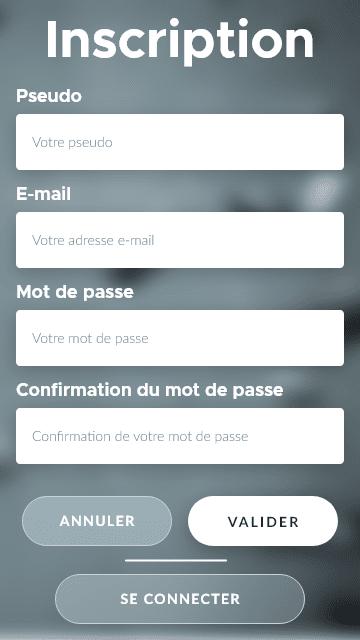 Création de compte de l'app d'escalade