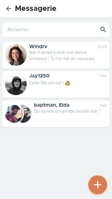 Messagerie de l'app d'escalade