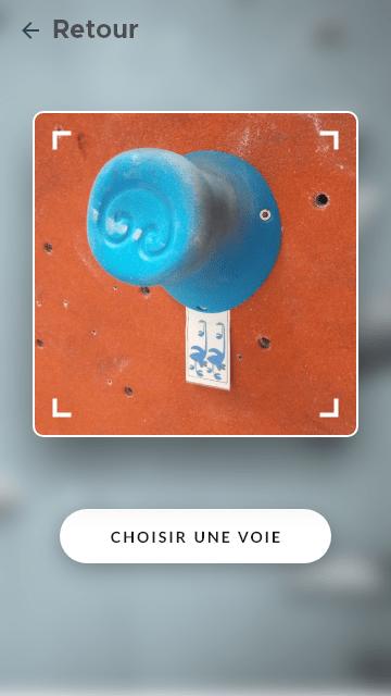 Sélection de voie de l'app d'escalade