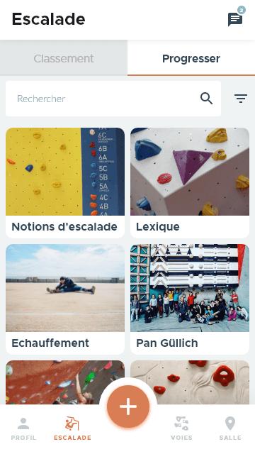 Escalade progression de l'app d'escalade