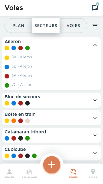 Listing voies de l'app d'escalade