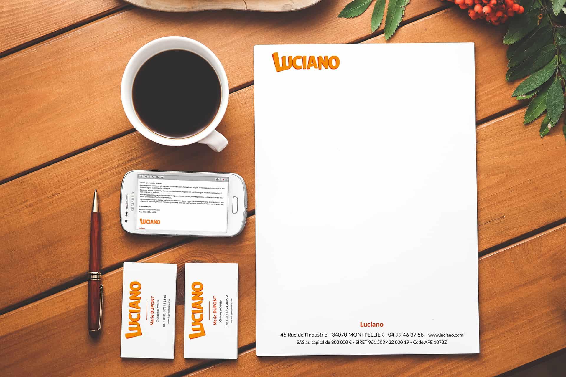 Papeterie pour la marque de pâtes Luciano