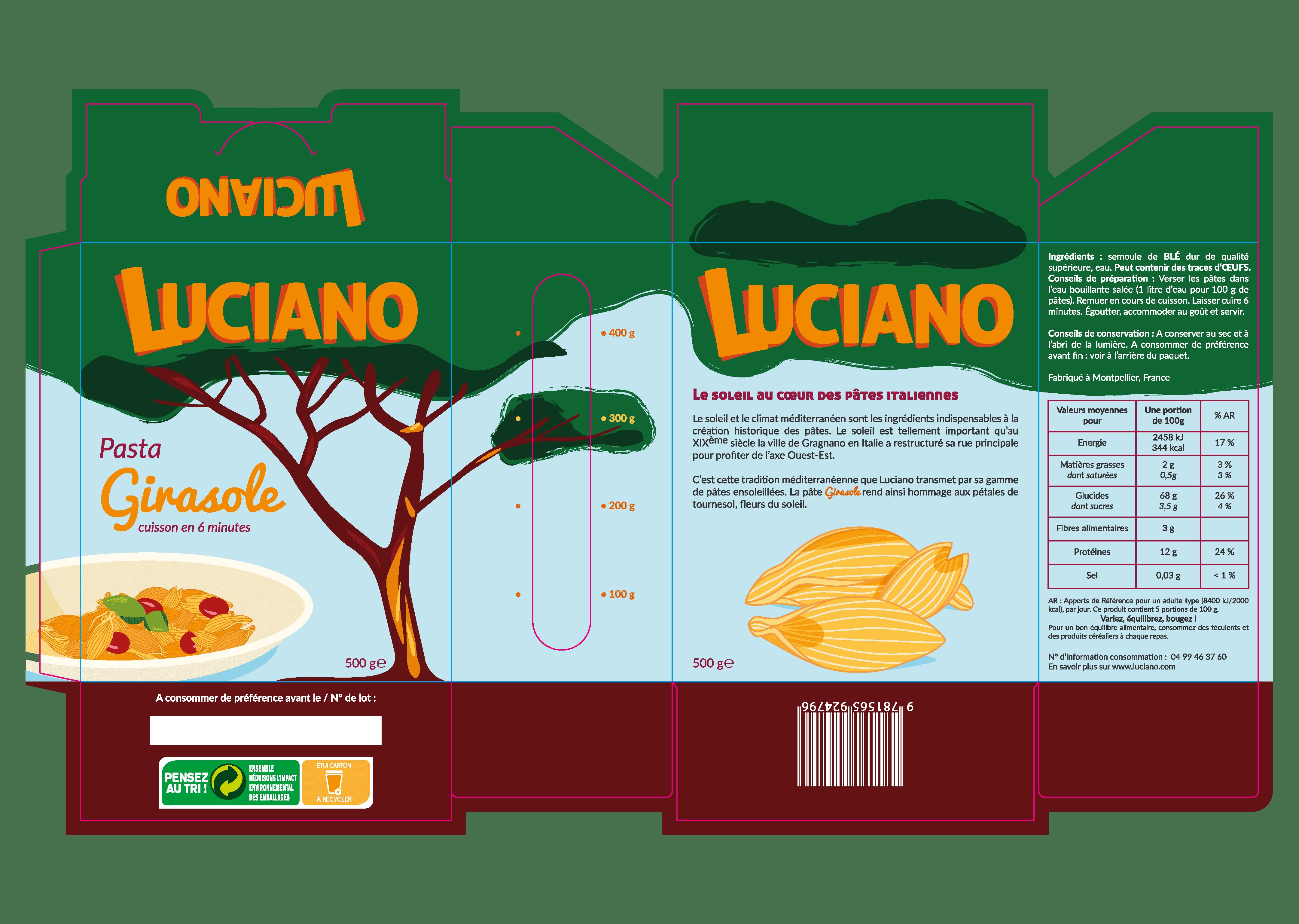 Gabarit de packaging pour le projet de graphisme de la marque de pâtes Luciano