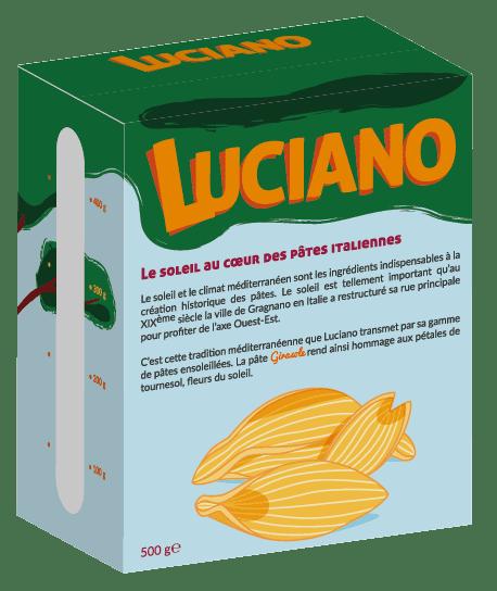 Packaging arrière du projet de graphisme de la marque de pâtes Luciano