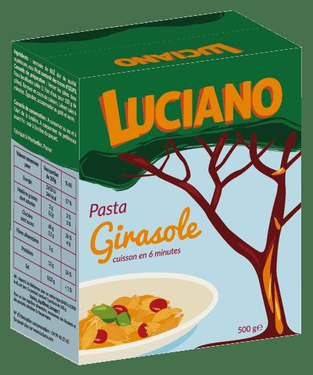 Packaging avant du projet de graphisme pour la marque de pâtes Luciano