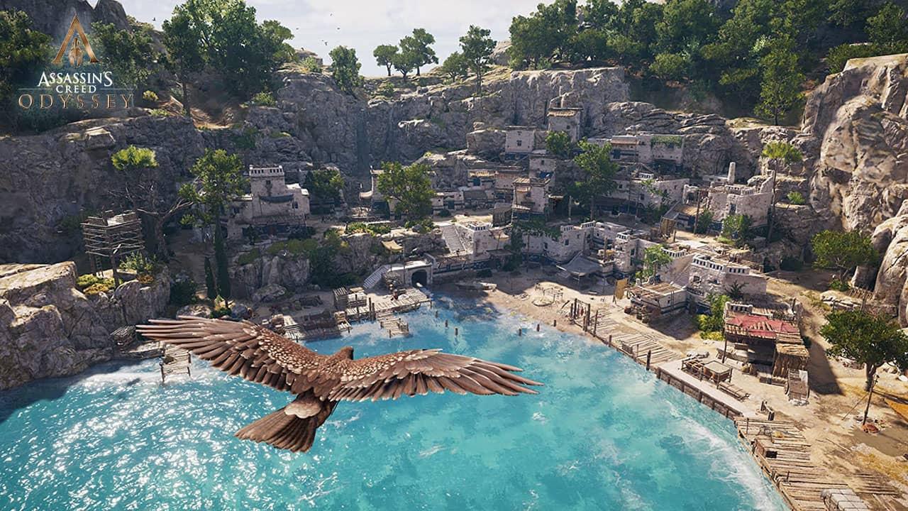 Village grecque survolé dans Assassin's Creed Odyssey