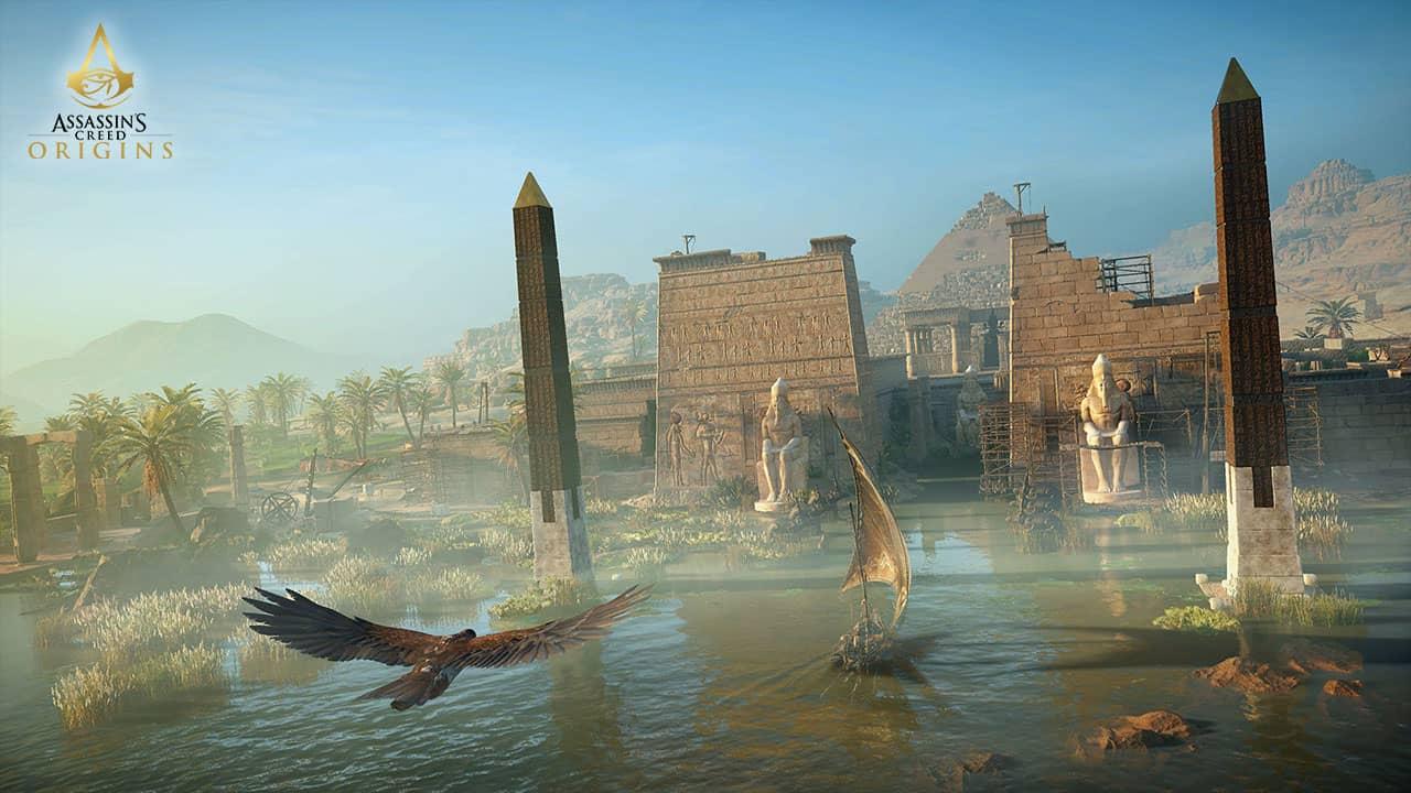 Temple égyptien au bord du Nil dans Assassin's Creed Origins