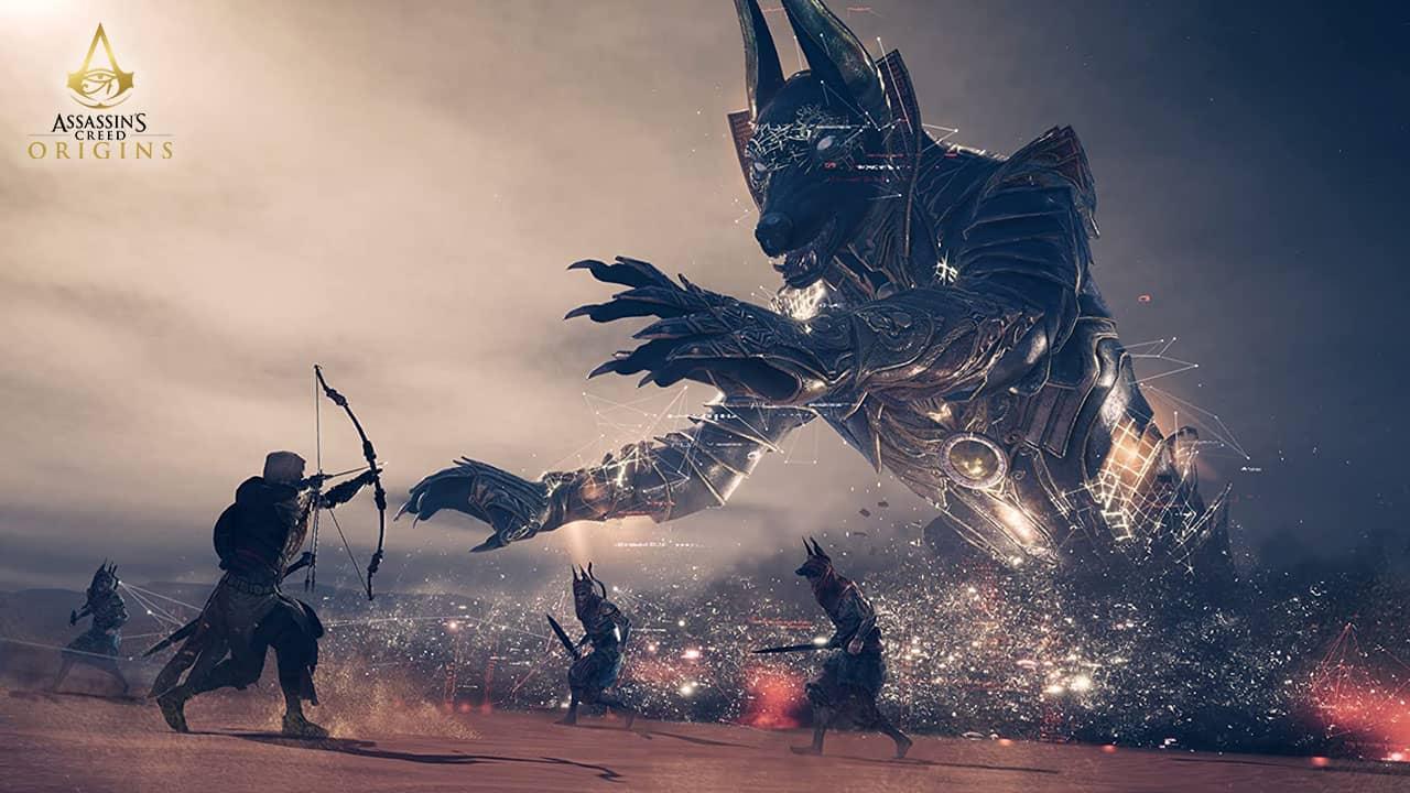 Une affrontement avec l'hologramme d'Anubis dans Assassin's Creed Origins