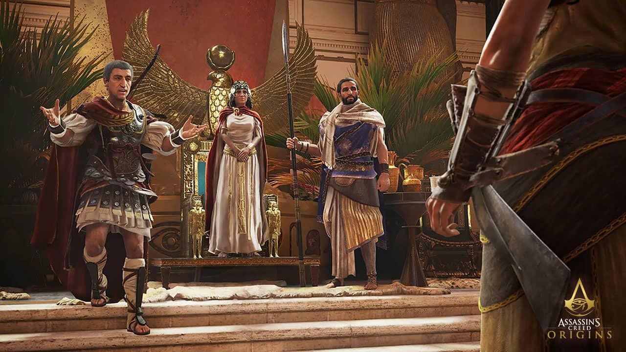 Jules César et Cléopâtre dans Assassin's Creed Origins