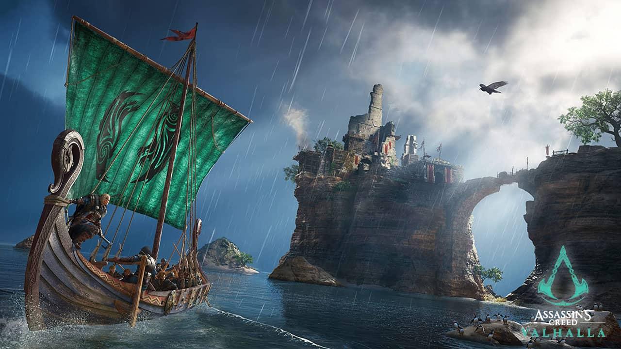 Drakkar viking en approche des côtes britanniques pour Assassin's Creed Valhalla