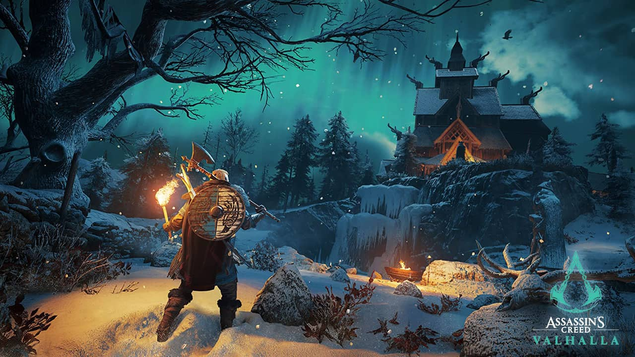 Maison viking enneigée de nuit de Assassin's Creed Valhalla