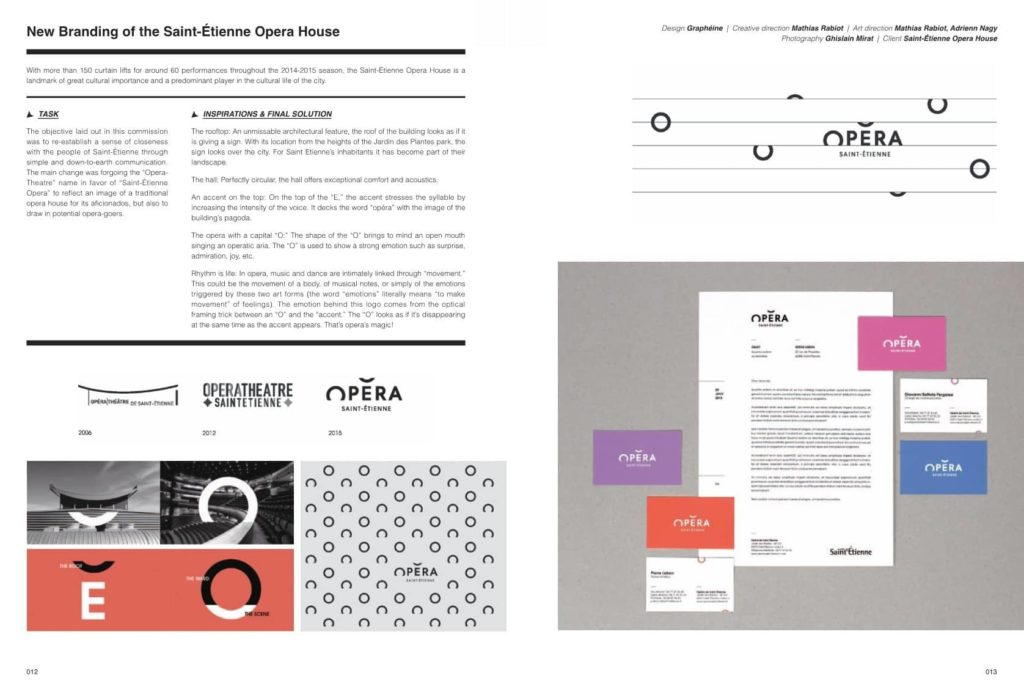 """Exemple de pages """"Logo decode"""" avec la réalisation du logo de l'Opera de Saint Etienne réalisé par Graphéine"""
