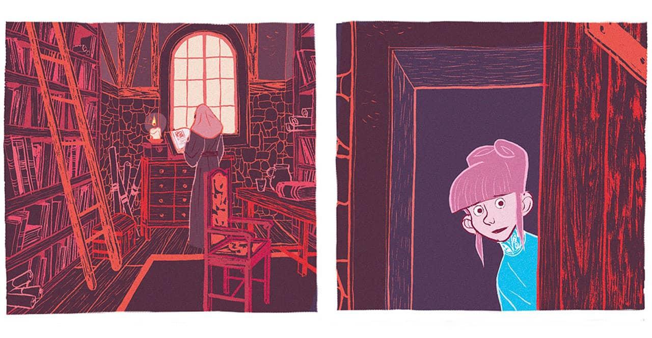 Deux cases illustrant les détails des décors d'une bibliothèque où se rend Tilda