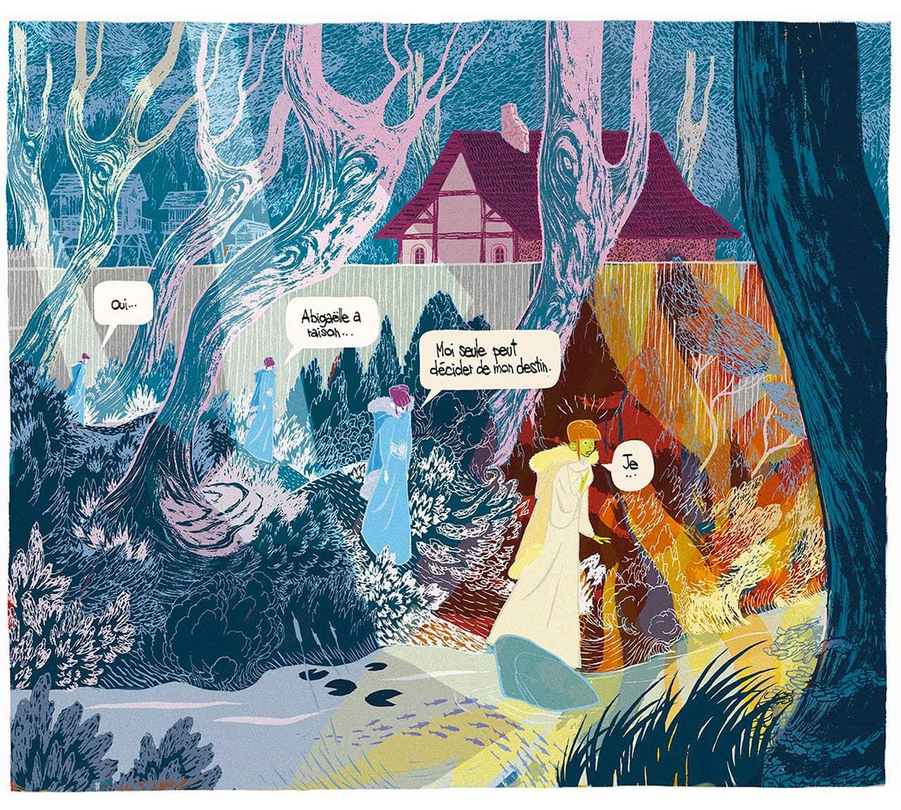 Mise en couleur de la case présentant l'avancement de Tilda dans une forêt