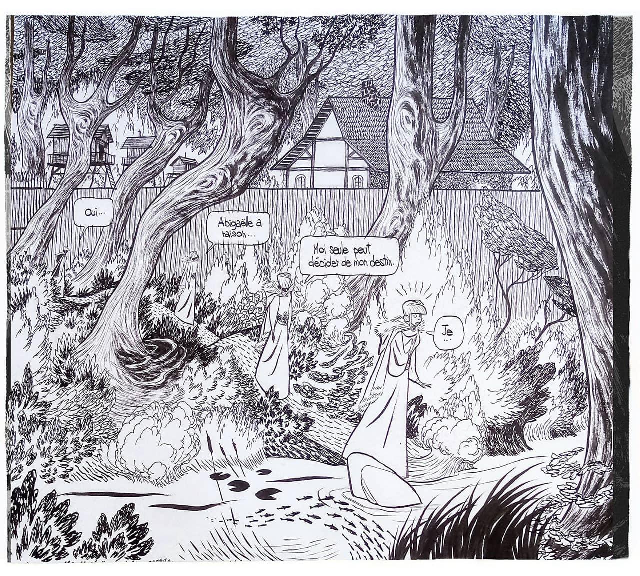 Une case dessiné en noir et blanc présentant l'avancement de Tilda dans une forêt
