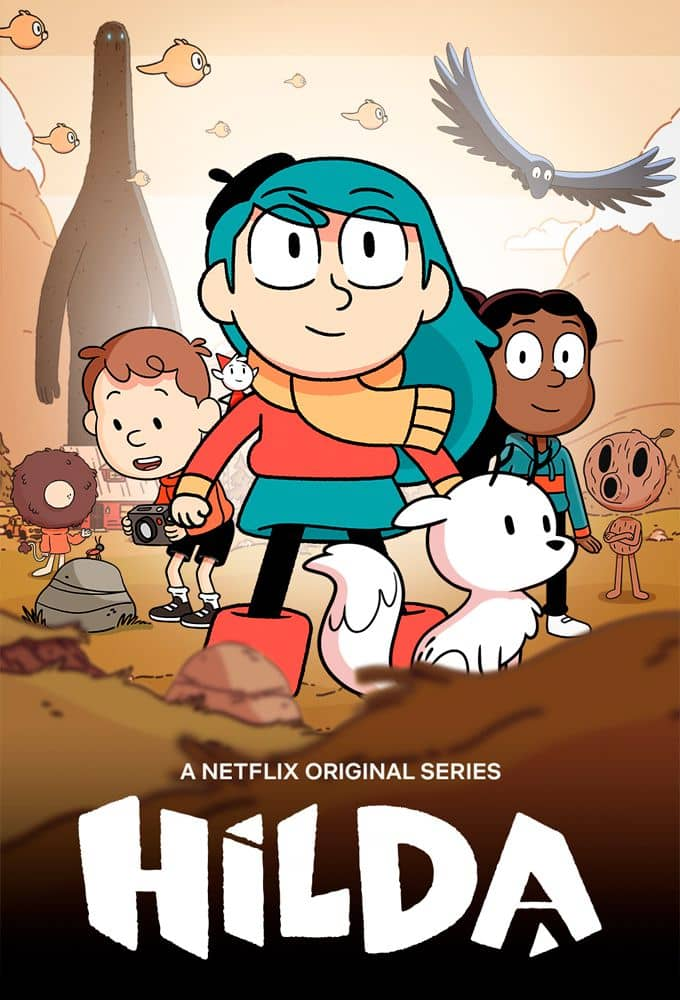 Affiche de la série Hilda présentant les héros prêts à l'aventure