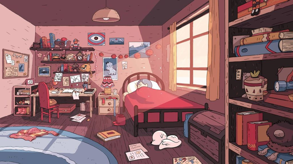 Décors de la chambre de Hilda avec un magnifique jeu de lumière