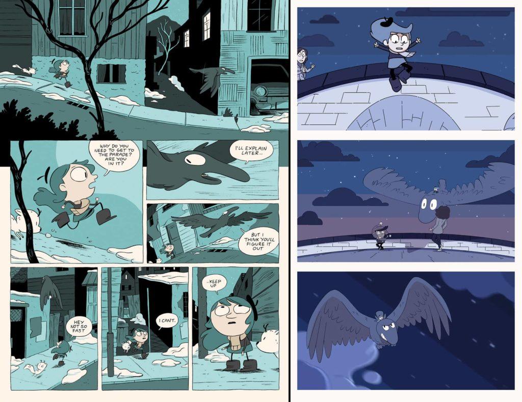 Comparatif entre une planche de la bande dessinée et des captures de la série