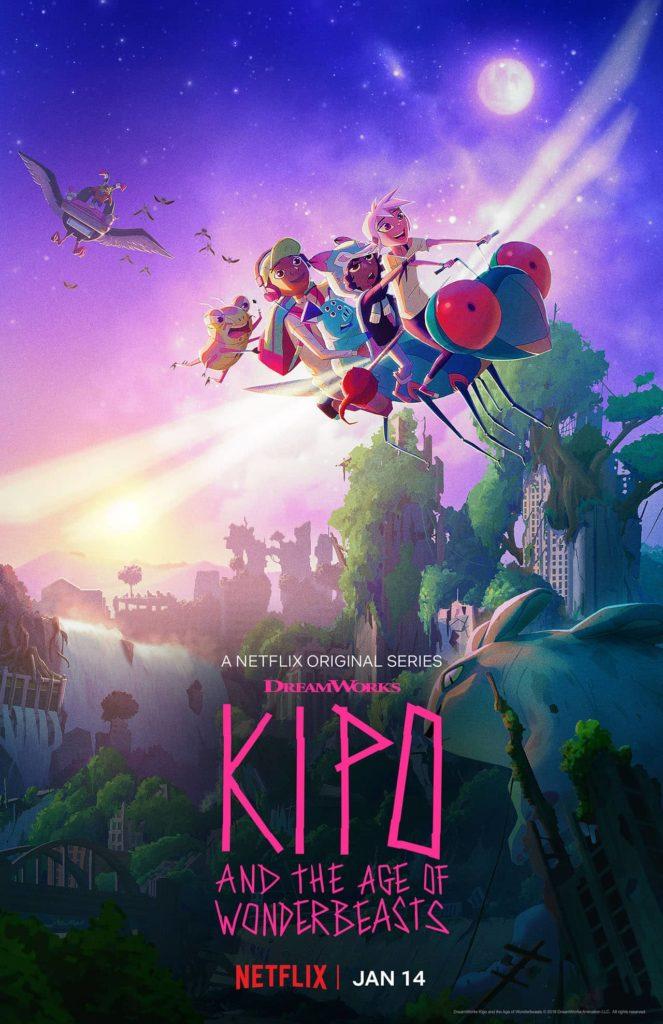 Affiche de la série Kipo présentant les héros sur une libellule géante