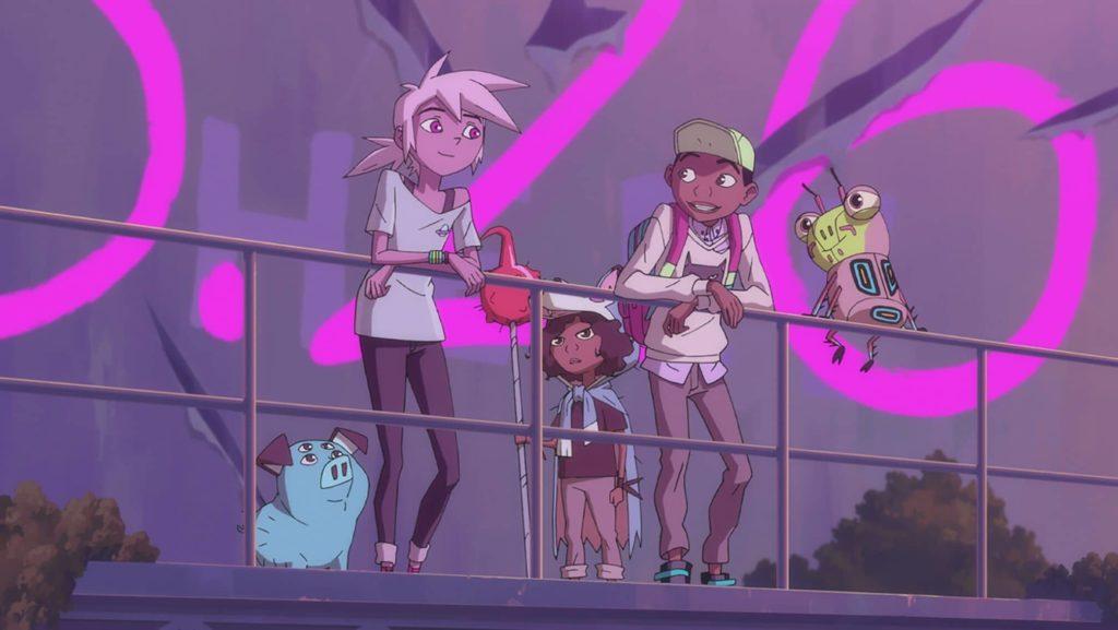 Les personnages principaux de la série Kipo sur un présentoir géant