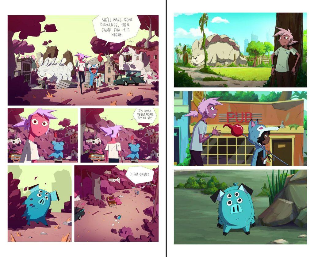 Comparatif entre une planche du webcomic et des captures de la série