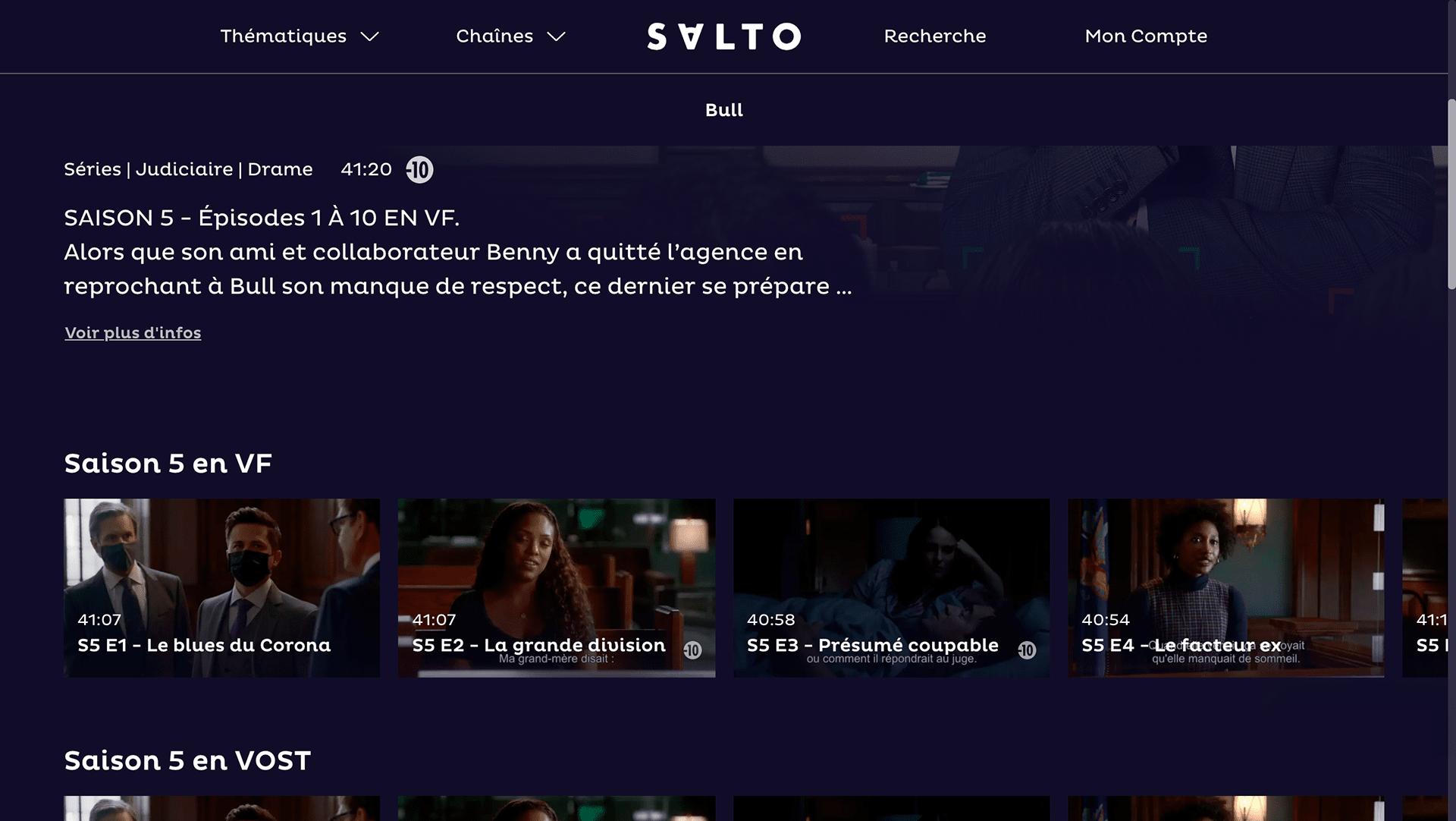 Page de la série Bull issue du streaming avec un tri par saisons