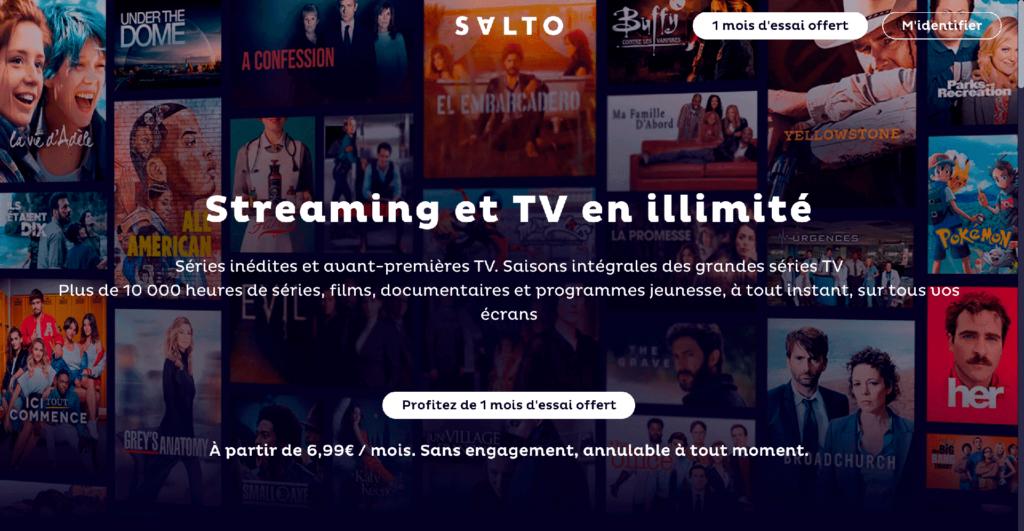 Page d'accueil de Salto avant connexion ou inscription avec présentation de l'offre de SVoD