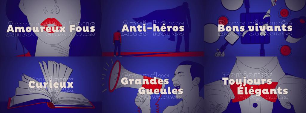 Exemple de 6 vignettes utilisées pour Salto à base d'illustrations rouges et bleues