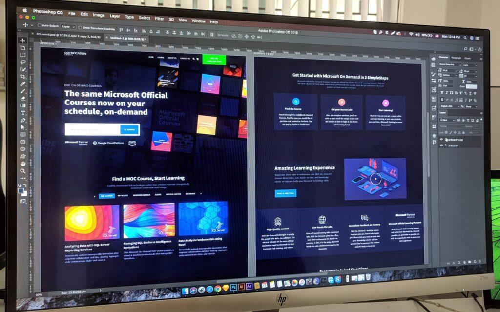 Un écran présentant Photoshop en pleine utilisation pour la réalisation d'interfaces.
